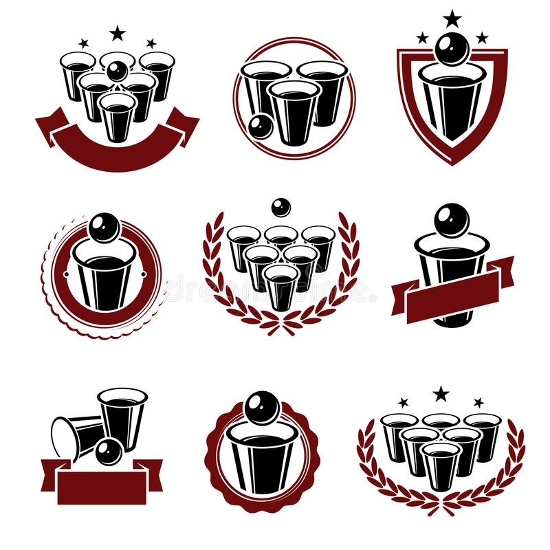 Наклейки и набор элементов коллекции пинг-понгов пива Пиво-понг со значком коллекции Вектор иллюстрация вектора