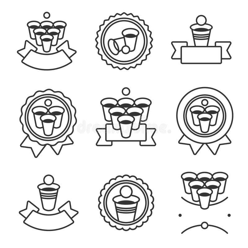 Наклейки и набор элементов коллекции пинг-понгов пива Пиво-понг со значком коллекции Вектор иллюстрация штока