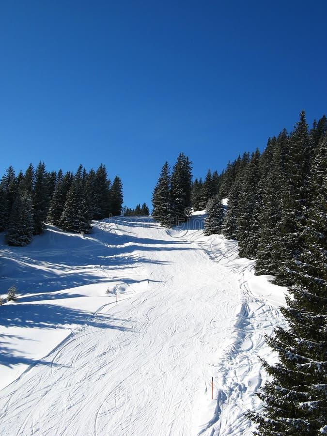 наклон катания на лыжах стоковые изображения