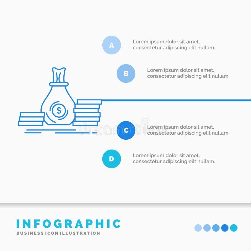 Накопление, сумка, вклад, заем, шаблон Infographics денег для вебсайта и представление Линия стиль голубого значка infographic иллюстрация штока