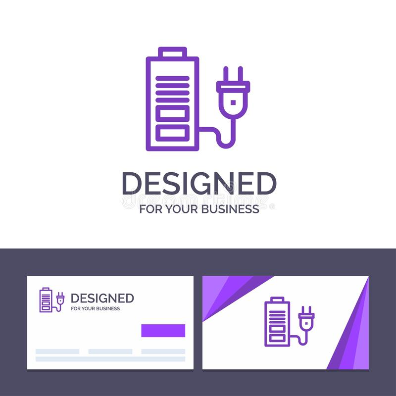 Накоплитель шаблона визитной карточки и логотипа, аккумулятор, питание, векторная иллюстрация Plug Vector иллюстрация штока