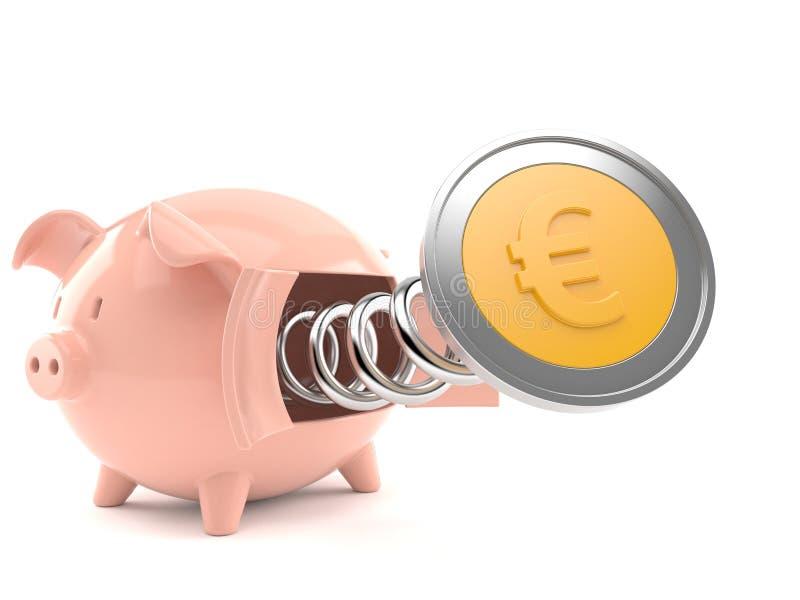 накрените евро монетки piggy иллюстрация вектора