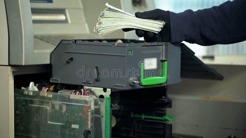 Накрените работник пополняя случаи ATM с валютой долларов, утвержденным доступом стоковые фотографии rf