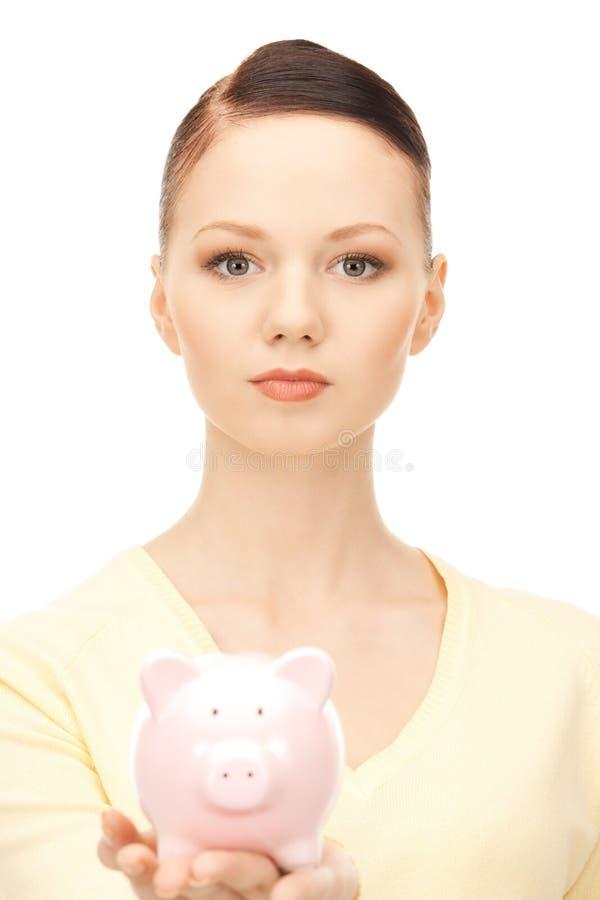 накрените симпатичная piggy женщина стоковое фото rf