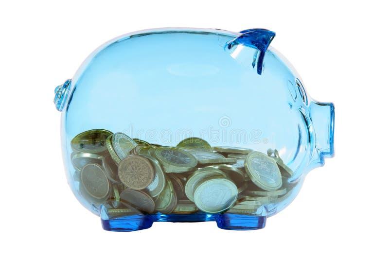 накрените piggy прозрачное стоковые изображения rf
