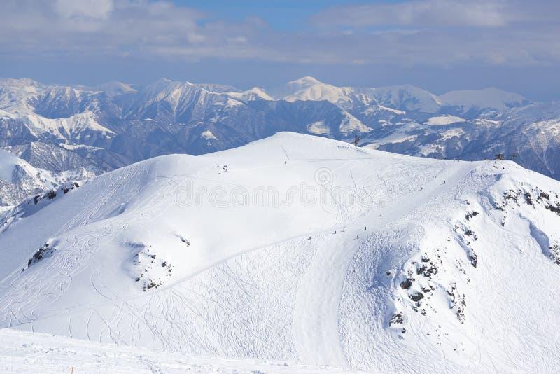 Наклоны лыжного курорта горных лыж от afar стоковое фото rf