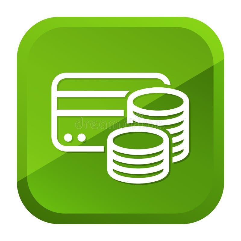 Наличные деньги кредитной карточки чеканят значок Зеленая кнопка r бесплатная иллюстрация
