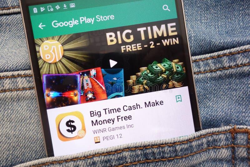 Наличные деньги пика активности канала Сделайте деньгами свободное приложение на вебсайте магазина игры Google показанном на смар стоковые изображения rf