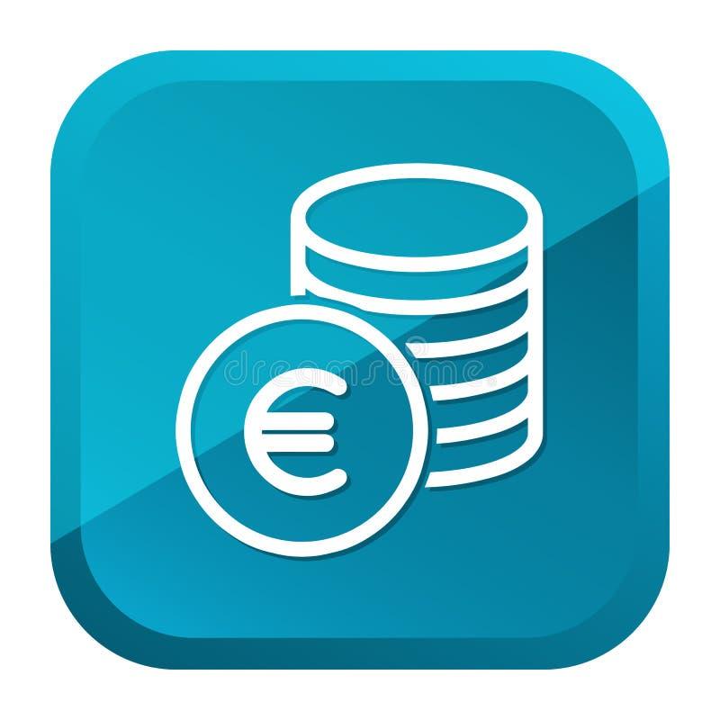 Наличные деньги чеканят значок евро Голубая кнопка r иллюстрация штока