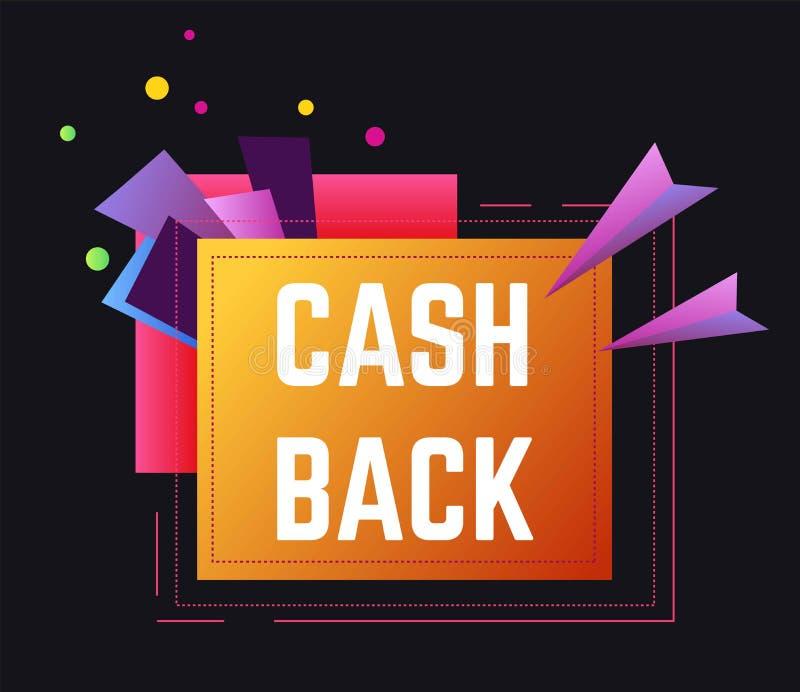 Наличных денег знак назад, финансовое обслуживание сохранить деньги иллюстрация вектора