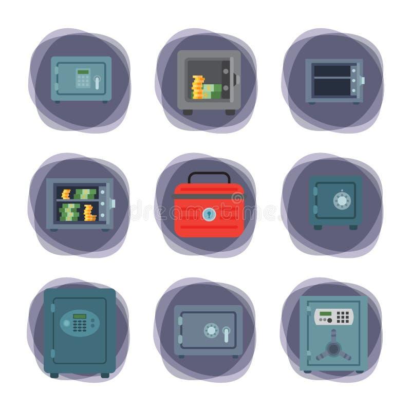 Наличных денег коробки дела безопасности концепции дела финансов двери свода денег вектор депозита предохранения от безопасных ст бесплатная иллюстрация