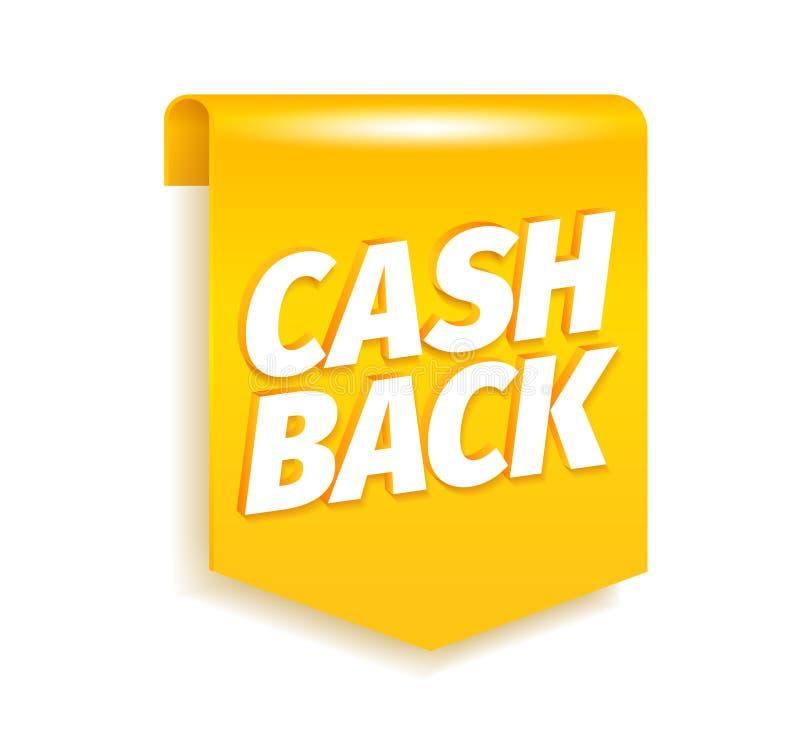Наличных денег флаг закладки назад Светя золото Письма слова Cashback Вектор эмблемы 3d ярлыков значка реалистический Иллюстрация бесплатная иллюстрация