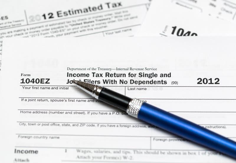 Налоговая форма 1040ez США на год 2012 стоковое изображение rf