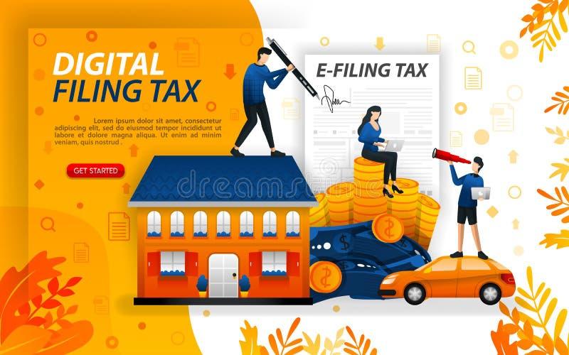Налог цифров храня, заполняя в онлайн налогах, люди которые сообщают их богатство онлайн, ilustration вектора концепции может исп иллюстрация штока