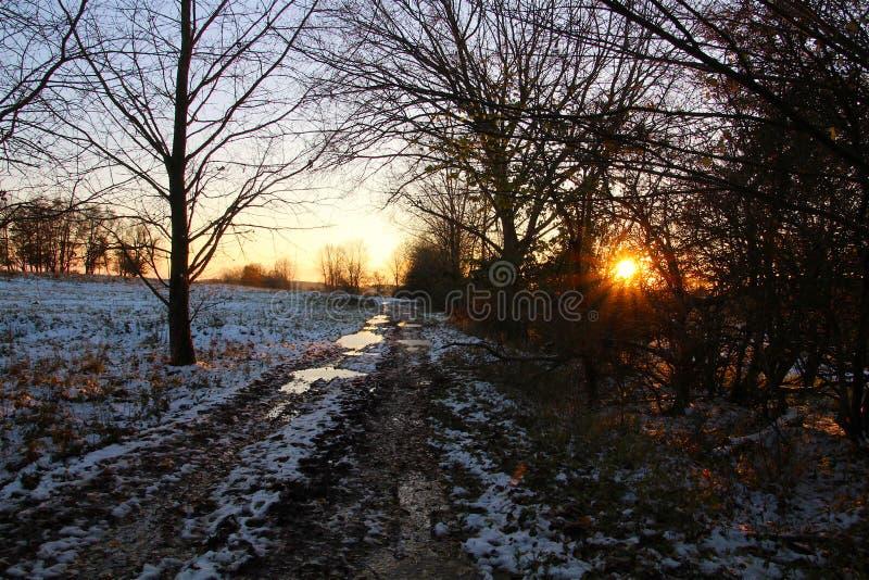 Намек захода солнца в снежном ландшафте стоковое изображение