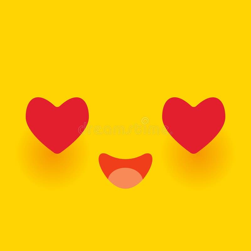 Намордник Kawaii смешной влюбленн в розовые щеки и сторона мультфильма больших красных глаз сердца милая на желтой оранжевой пред иллюстрация штока