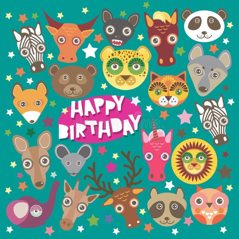 Намордник животных поздравительой открытки ко дню рождения с днем рождений смешной, иллюстрация штока