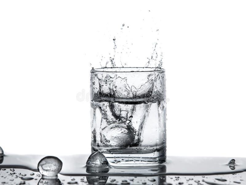 намочите выплеск с льдом в стекле на белой предпосылке стоковое изображение
