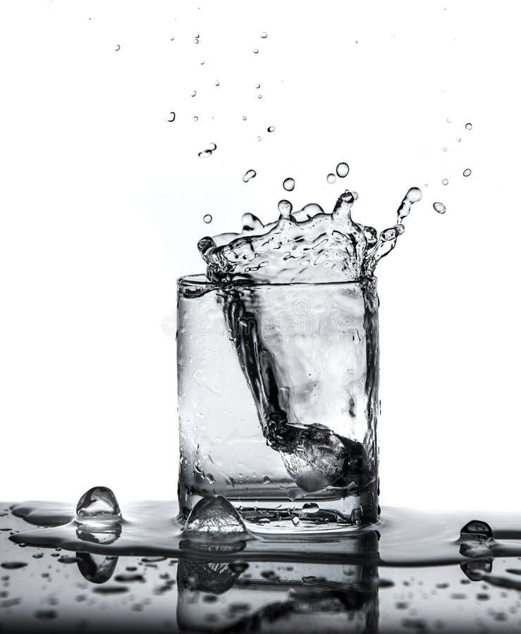 намочите выплеск с льдом в стекле на белой предпосылке стоковая фотография