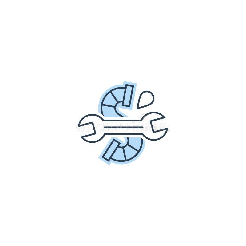 Намочите падение, пустите по трубам и взламывайте значок и логотип трубопровода иллюстрация вектора