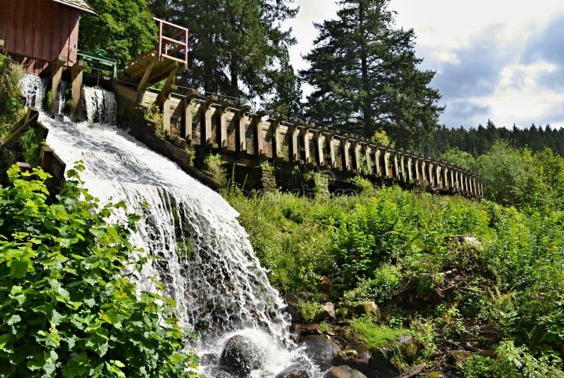 Намочите переполнение деревянного millrace в зеленой вегетации стоковые фотографии rf