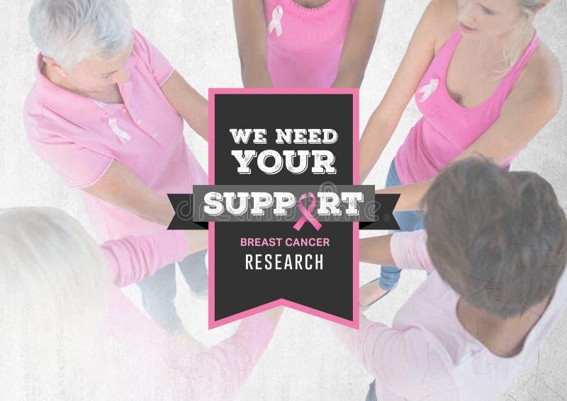 Нам нужен ваш текст поддержки при женщины осведомленности рака молочной железы кладя руки совместно иллюстрация штока