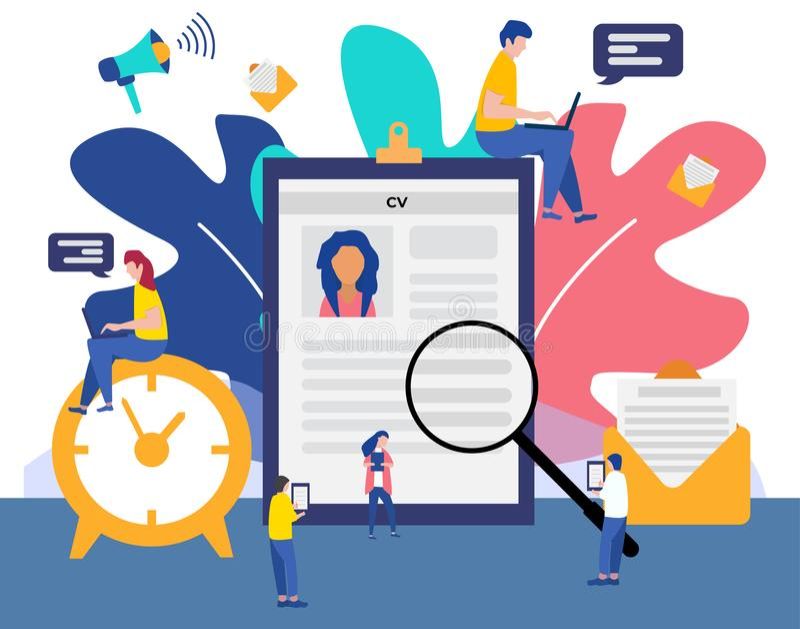 Нанимать работы и онлайн концепция с крошечными характерами людей, интервью рекрутства агенства Агенство работы бесплатная иллюстрация