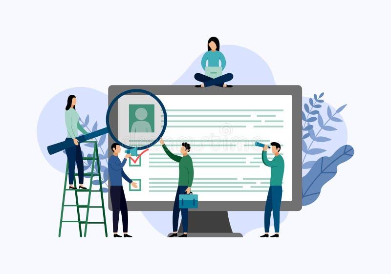 Нанимать работы и онлайн рекрутство, контрольный списоок иллюстрация вектора
