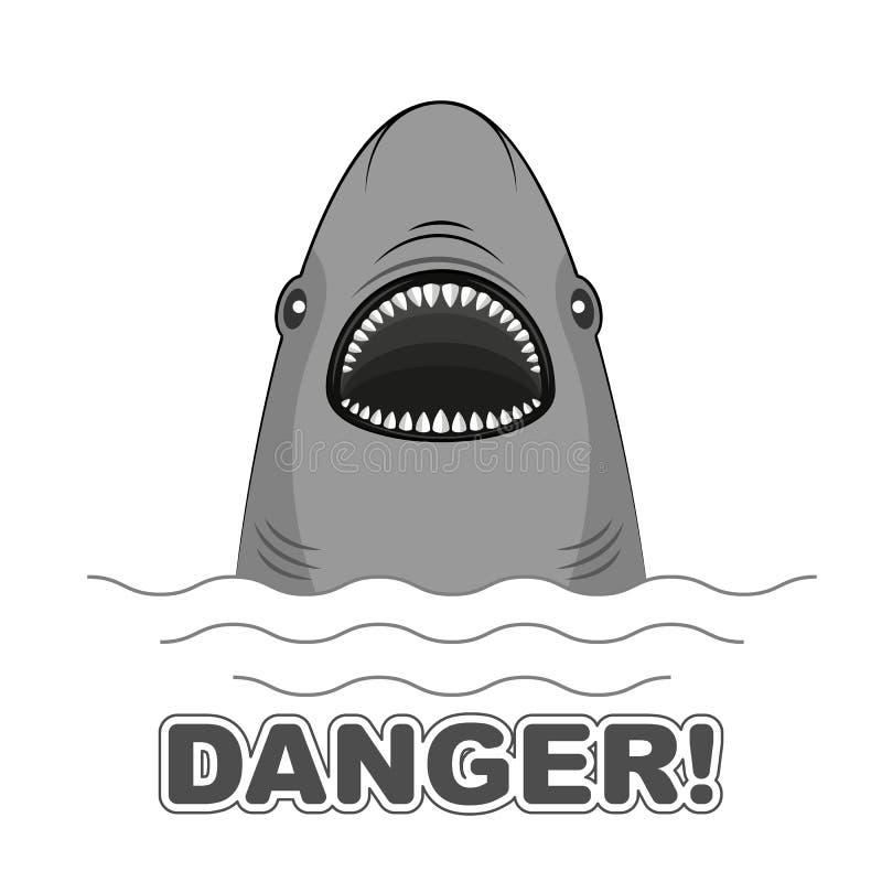 Нападение акулы знака опасности Плакат для футболок иллюстрация штока