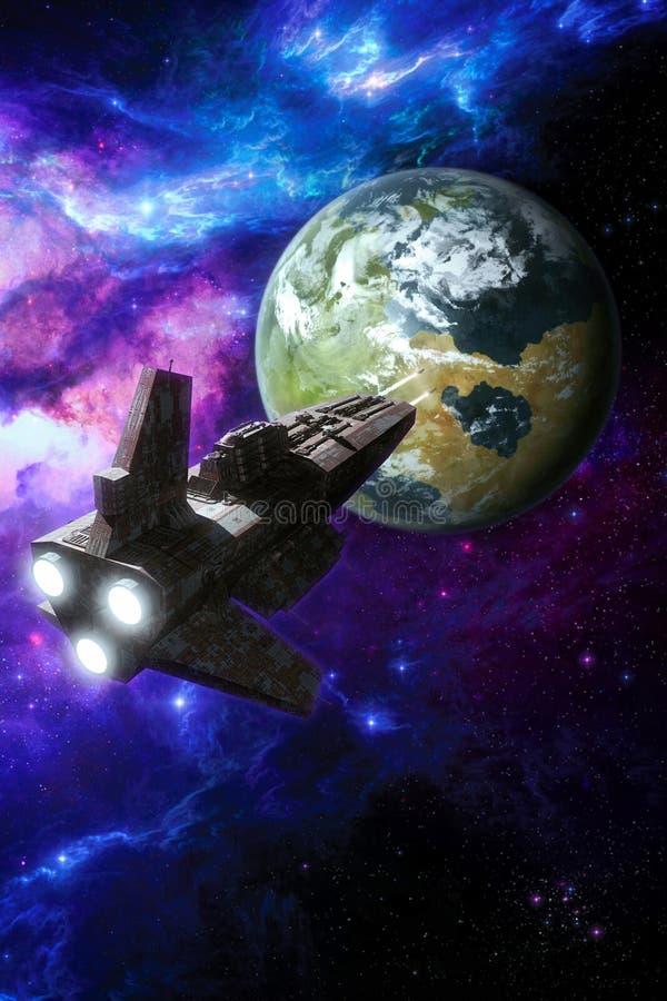 Нападение космического корабля планета иллюстрация вектора