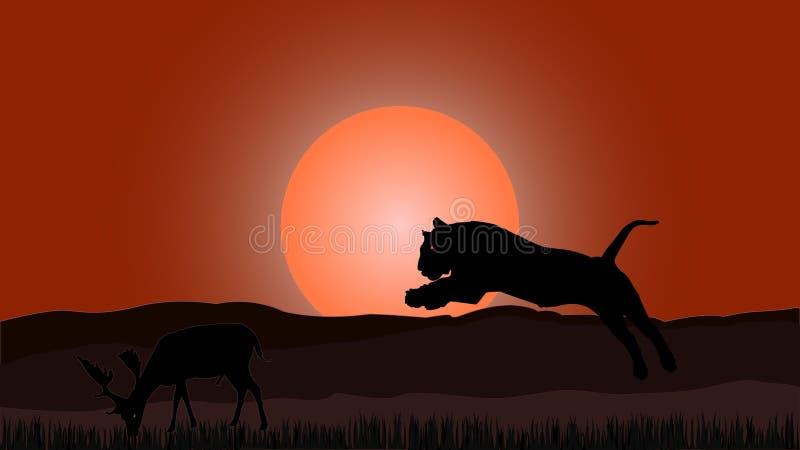 Нападение тигра на дорогом бесплатная иллюстрация