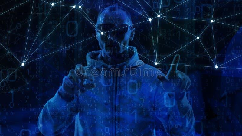 Нападение цифровых данных в концепции технологии данным по облака большой, абстрактной концепции, случайном коде иллюстрация штока
