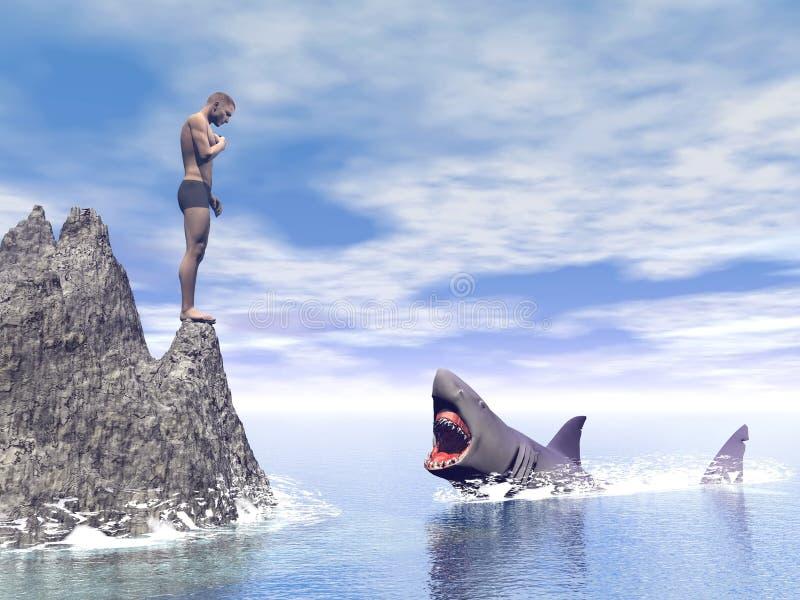 Нападение акулы - 3D представляют иллюстрация штока