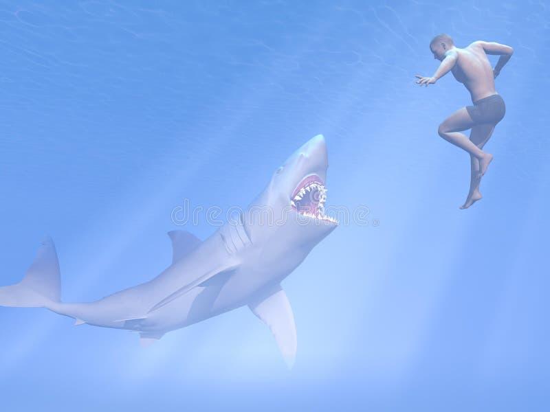 Нападение акулы - 3D представляют иллюстрация вектора