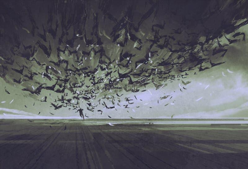 Нападение ворон, человек бежать далеко от стада птиц иллюстрация вектора