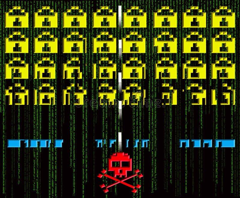 Нападение хакера ретро иллюстрация вектора