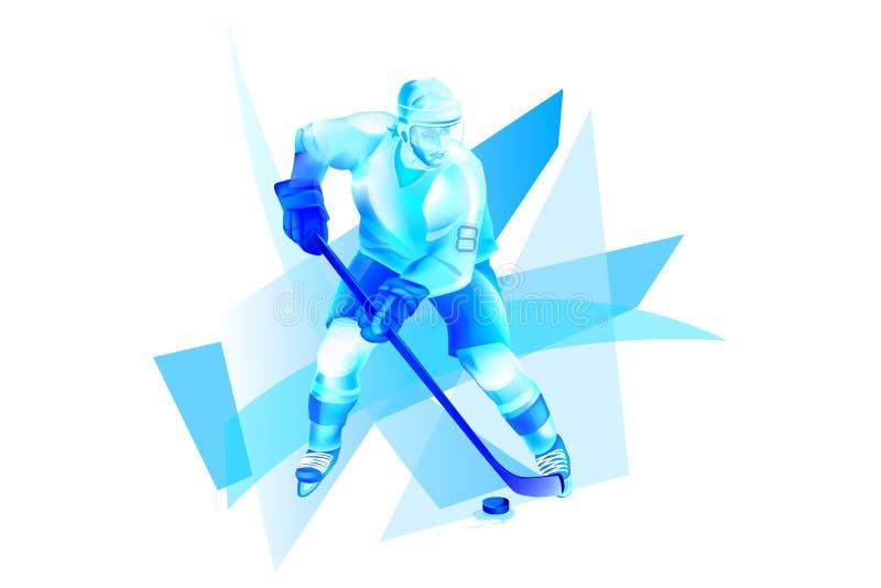 Нападение хоккеиста на голубом льде иллюстрация вектора
