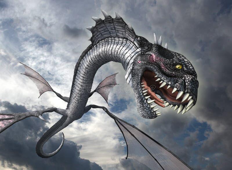 Нападения дракона змейки иллюстрация вектора