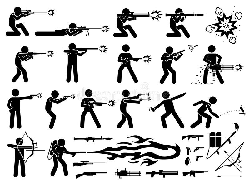Нападения человека с различным типом современных оружий войны иллюстрация штока