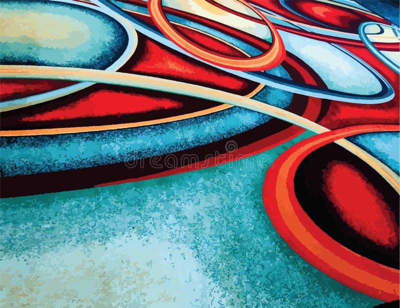 Напечатайте абстрактное красочное †«голубое, зеленую, желтую, красную предпосылку кольца круга свирли иллюстрация вектора