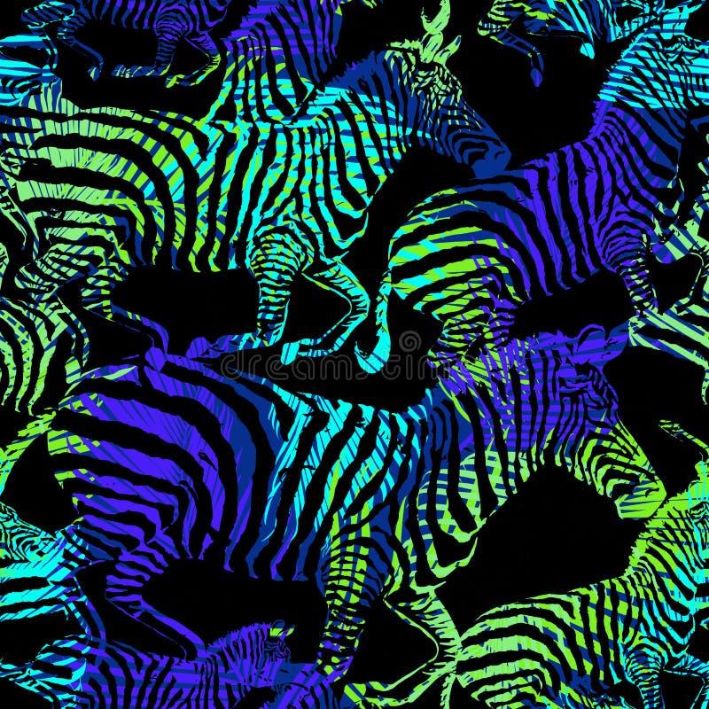 Напечатайте картину зебры троповую животную в стилях моды иллюстрация штока