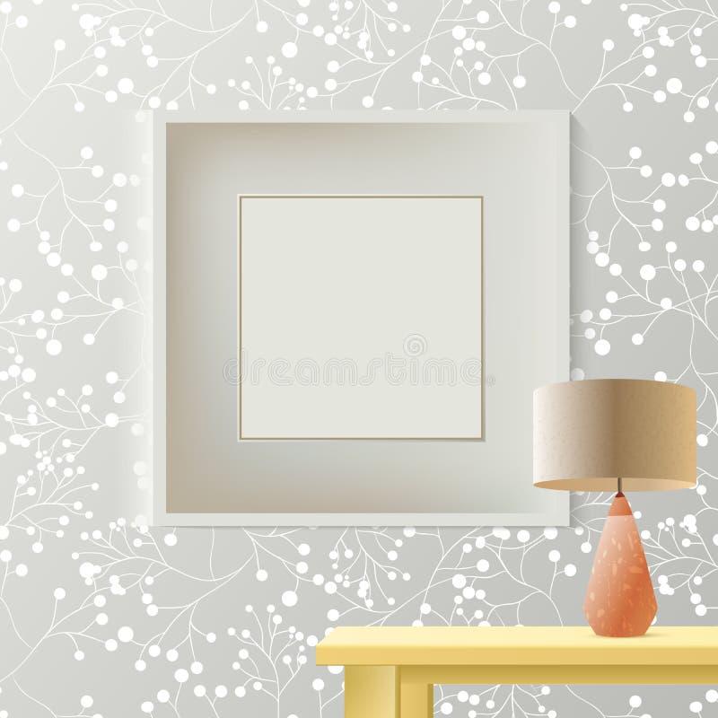 Напечатанные серые обои с пустой рамкой для copyspace на стене, элегантном свежем внутреннем модель-макете комнаты иллюстрация вектора