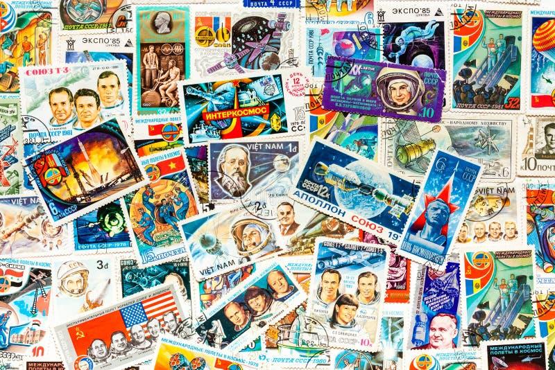 Напечатанный штемпелями космос космоса выставок космический стоковые изображения rf