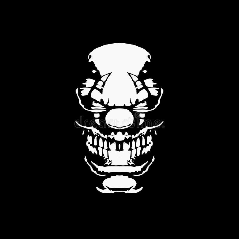 Напечатать рисунок клоуна Silhouette T-Shirt Clothing Design, Значок логотипа Mascot Голова Черепа, Страшная Улыбка Счастливого Х иллюстрация штока