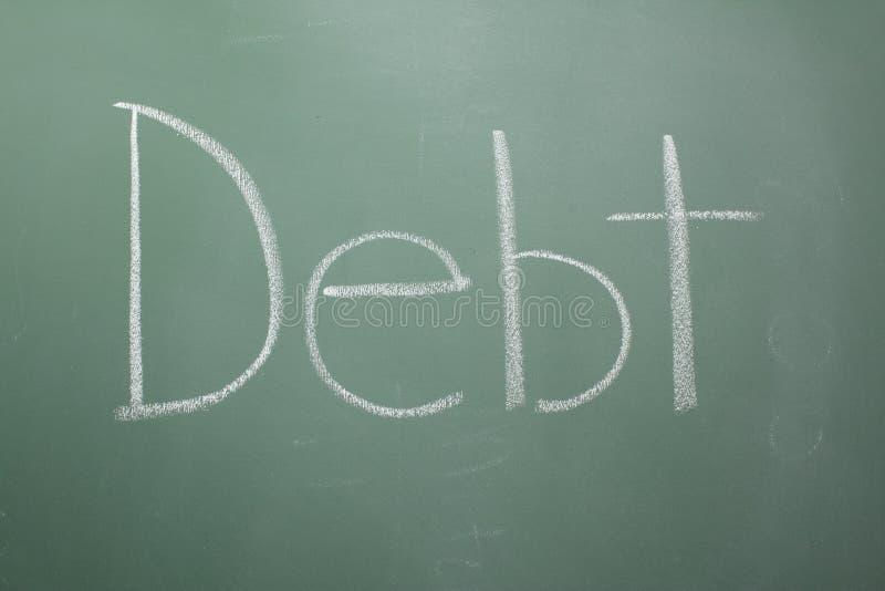 написанная задолженность chalkboard стоковое изображение rf