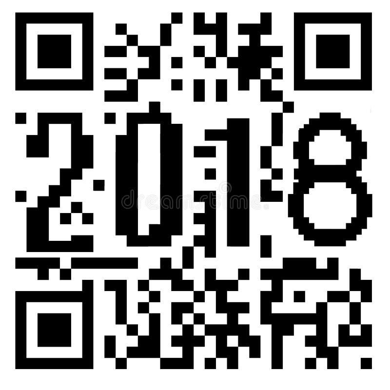 2018 написанное внутри кода QR бесплатная иллюстрация