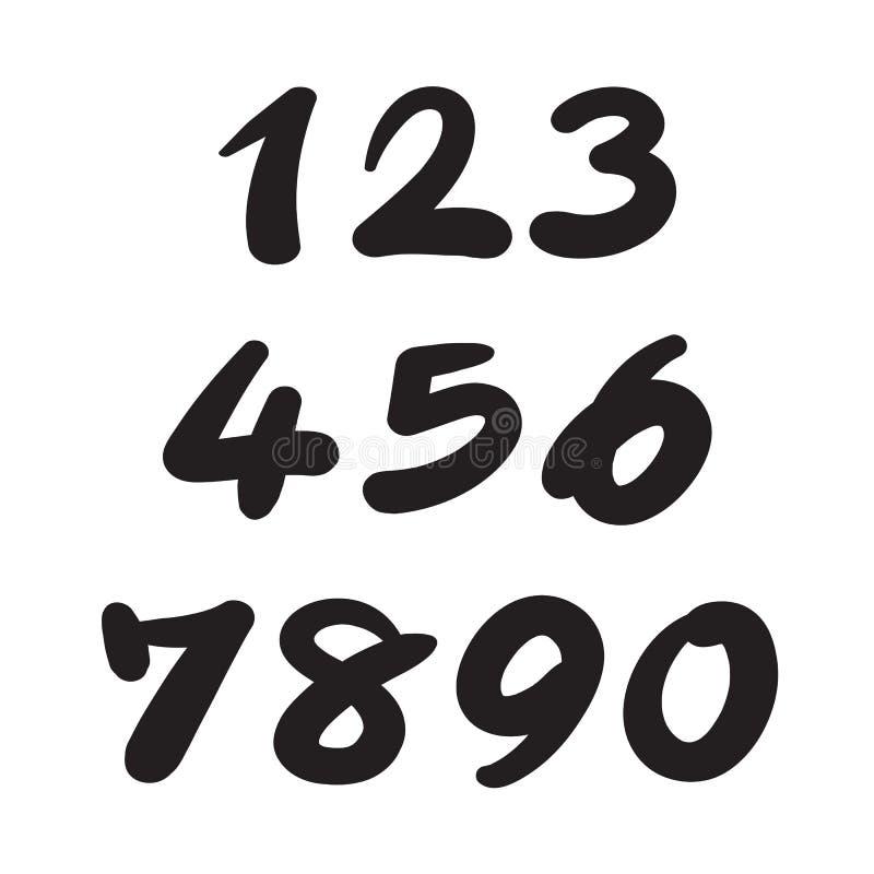 0-9 написанное с щеткой иллюстрация вектора