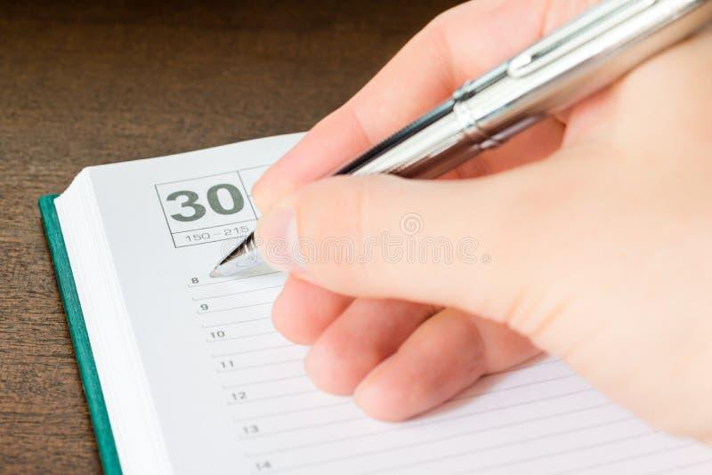 Написанный в событии дневника стоковые изображения rf