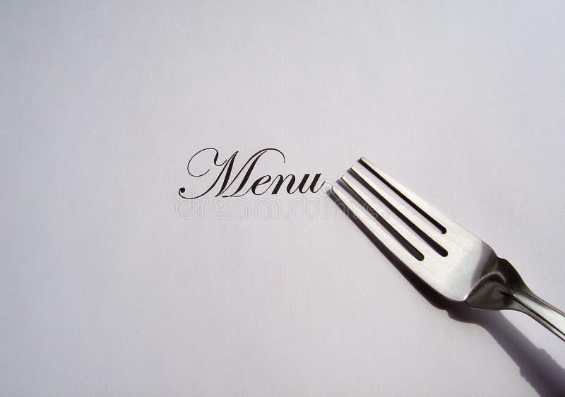 написанный серебр меню вилки стоковое изображение