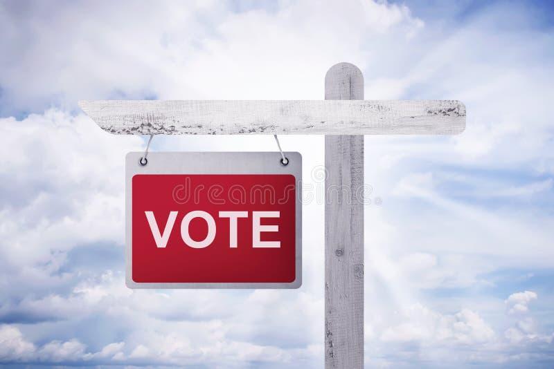 Написанный & x27; VOTE& x27; на красной смертной казни через повешение предпосылки на деревянном поляке стоковые изображения